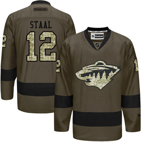 Mens Reebok Minnesota Wild 12 Eric Staal Authentic Green Salute to Service  NHL Jersey 2af9cf213