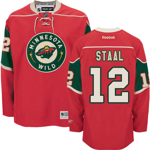 4c0960ea5 Mens Reebok Minnesota Wild 12 Eric Staal Authentic Red Home NHL Jersey
