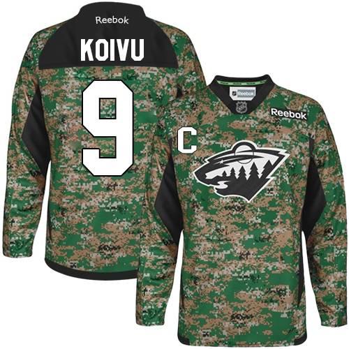 8a6d35037c4 Mens Reebok Minnesota Wild 9 Mikko Koivu Authentic Camo Veterans Day  Practice NHL Jersey
