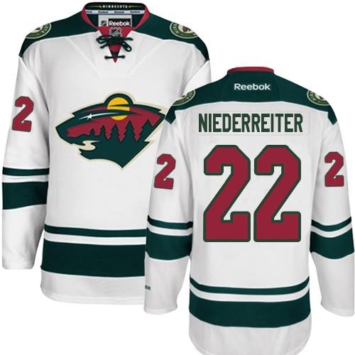 f3ec2f235 Mens Reebok Minnesota Wild 22 Nino Niederreiter Authentic White Away NHL  Jersey