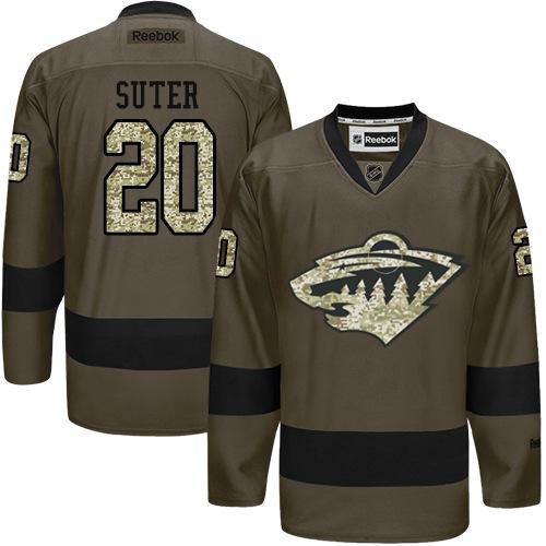 Mens Reebok Minnesota Wild 20 Ryan Suter Authentic Green Salute to Service NHL  Jersey 5c6ceac4b