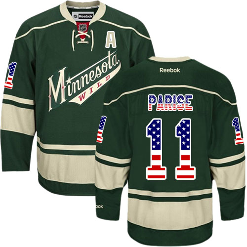 65fda779a1e1 Mens Reebok Minnesota Wild 11 Zach Parise Premier Green USA Flag Fashion  NHL Jersey